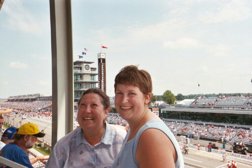 Me and Mum Priddis on race day - check those seats!