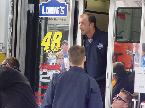 Chad peeking out of the hauler at lunchtime...